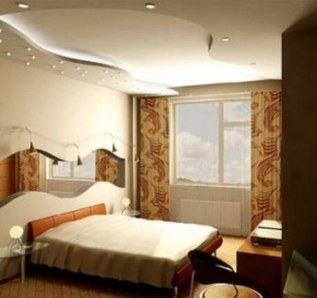 Дизайн спальни 12 кв.м в современном стиле с диваном